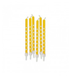 Yellow polka dot pennor 6 stearinljus 73226 New Bama Party- Futurartshop.com