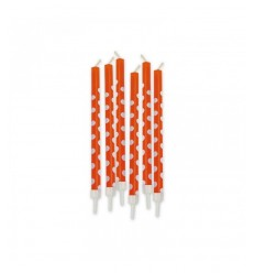 Orange polka dot pencils 6 candles 73227 New Bama Party- Futurartshop.com