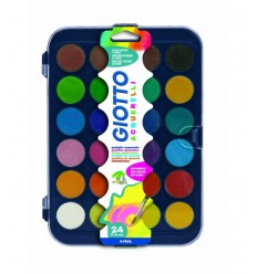 Giotto watercolors in 24 colors, 30 mm, pastigle with brush 332000 Giotto- Futurartshop.com