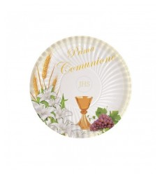 10 plates 24 cm communion lily BIM0005989 New Bama Party- Futurartshop.com