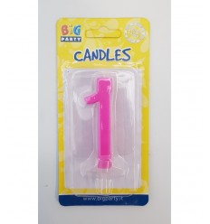 Candle fuchsia number 1 BIM0006442 New Bama Party- Futurartshop.com