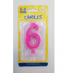 Candle fuchsia number 6 BIM0006441 New Bama Party- Futurartshop.com