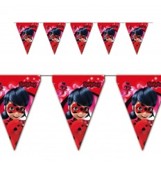 Lady Bug girlanden mit fähnchen aus papier NBP1422 New Bama Party- Futurartshop.com