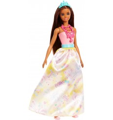 Bambola barbie princess dreamtopia castana con gonna gialla FJC94/FJC96 Mattel-Futurartshop.com