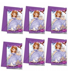 Princesse Sofia set de 6 invitations avec des sachets de thé 99582301 New Bama Party- Futurartshop.com