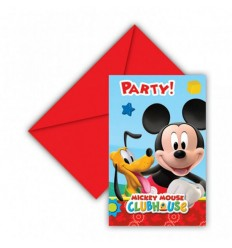Set de 6 invitations avec des sachets de thé de Mickey mouse 99581513 New Bama Party- Futurartshop.com