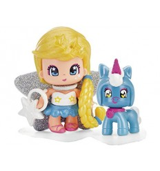 Pinypon minifigura with blonde hair and baby blue unicorn 700014276/25308 Famosa- Futurartshop.com