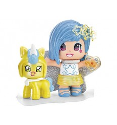 Pinypon minifigura with blue hair and baby unicorn yellow 700014276/25305 Famosa- Futurartshop.com