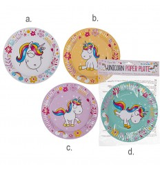 8 Plates in paper for theme parties Unicorn OUT62/0808 Out of The Blue- Futurartshop.com