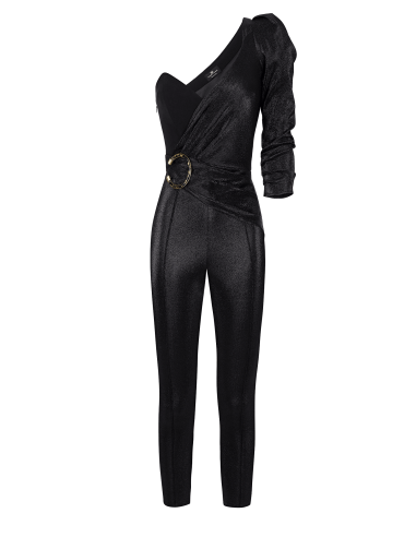 timeless design 5951a a7000 jumpsuit with one shoulder tight black